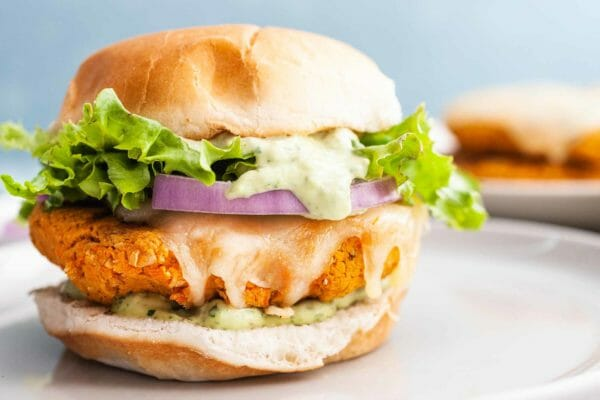 Veggie Burger Recipe with Green Goddess Dressing